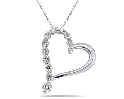 "1.50 Ct.TW Round Diamond Heart Pendant in 14 kt. With 16"" Chain"