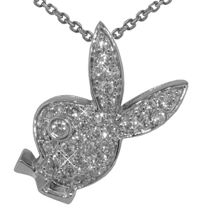 "0.55 Ct.TW Pave Round Diamond Bunny Head Pendant in 14 kt. With 16"" Chain"