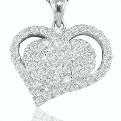 "1.25 Ct.TW Pave Round Diamond Heart Pendant in 14 kt. With 16"" Chain"