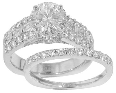 WR750MA 260 Ct TW Round Diamond Engagement Ring with Wedding Band