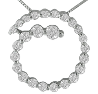 "2.00 Ct.TW Round Diamond Spiral Circle Love Pendant in 14 kt. With 16"" Chain"