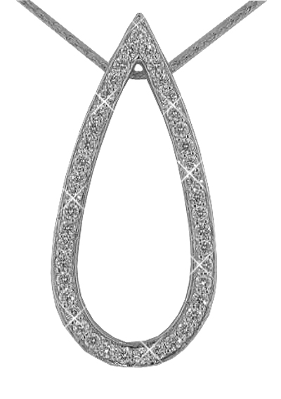 """1.00 Ct. TW Pave Round Diamond Teardrop Pendant in 14 kt. With 16"""" Chain"""