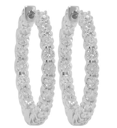 75 Ct. TW Round Diamond Inside-Outside Hoop Earrings