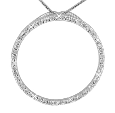 """0.50 Ct. TW Large Round Diamond Circle Love Pendant in 14 kt. With 16"""" Chain"""
